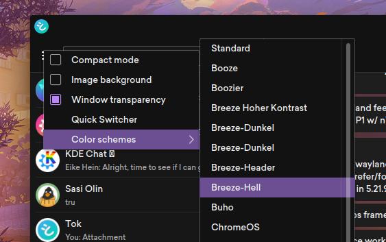 tok showing colour scheme selection